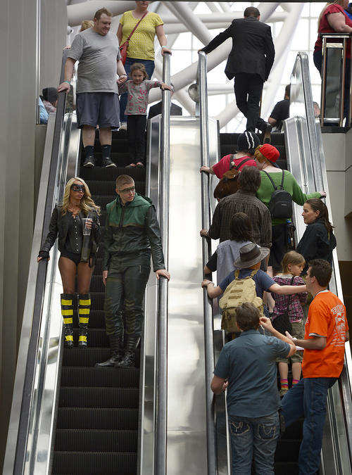 Scott Sommerdorf   |  The Salt Lake Tribune The escalators at the Salt Palace during the opening day of Salt Lake Comic Con, Thursday, April 17, 2014.