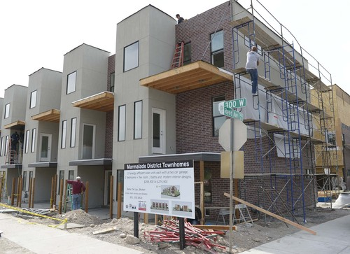 Leah Hogsten  |  The Salt Lake Tribune  The Marmalade District Lofts, Salt Lake City's first ever townhomes powered almost entirely on solar power, are for sale,  Friday, March 22, 2014. The 10 units are part of a planned urban development helped by a land-acquisition loan to the developer by the city's Redevelopment Agency.