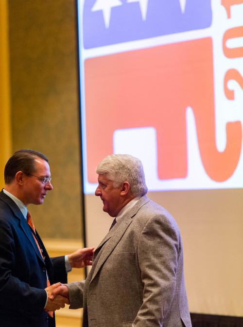 Trent Nelson  |  The Salt Lake Tribune Rep. Ken Ivory, R-West Jordan, greets Congressman Rob Bishop, R-Utah, at the  Western Republican Leadership Conference at the Grand America Hotel in Salt Lake City, Friday April 25, 2014.