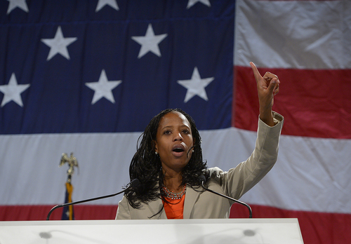 Scott Sommerdorf   |  The Salt Lake Tribune Congressional candidate Mia Love speaks to the Western Republican Leadership Conference as they held a rally at the South Towne Convention Center, Friday, April 25, 2014.
