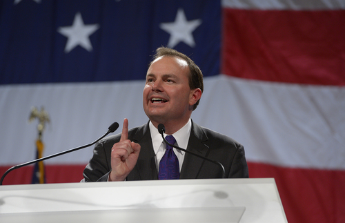 Scott Sommerdorf   |  The Salt Lake Tribune Senator Mike Lee speaks at the Western Republican Leadership Conference as they held a rally at the South Towne Convention Center, Friday, April 25, 2014.