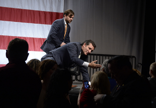 Scott Sommerdorf   |  The Salt Lake Tribune Texas Senator Ted Cruz says goodbye to an adoring audience after he spoke at the Western Republican Leadership Conference as they held a rally at the South Towne Convention Center, Friday, April 25, 2014.