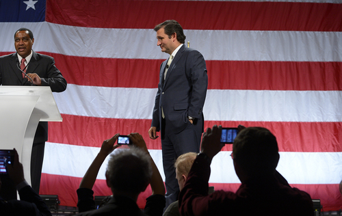 Scott Sommerdorf   |  The Salt Lake Tribune Utah GOP party chair James Evans annunces the evening is pver as Texas Senator Ted Cruz says goodbye to an adoring audience after he spoke at the Western Republican Leadership Conference as they held a rally at the South Towne Convention Center, Friday, April 25, 2014.
