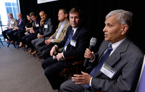 Franciso Kjolseth  |  The Salt Lake Tribune Ashok Josi of Ceramatec introduces himself during a group discussion on why immigration is important to hi-tech industries. The discussion which featured Senator Orrin Hatch took place at Proofpoint Inc., in Draper, Utah on Friday, April 25, 2014, and is one of a 12 city tour within two weeks in an effort to keep America's tech sector competitive. Included on the panel were Stan Lockhart of IM Flash Technologies, Jim Dreyfous of Pelion Ventures, Bassam Salem of inContact, Richard Nelson of the Utah Tech Council, Amy Rees with REES Capital, Senator Hatch and Darren Lee with Proofpoint.