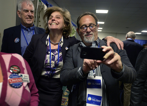 Scott Sommerdorf   |  The Salt Lake Tribune Donna McAleer celebrates her victory for the Democratic nomination in the 1st Congressional District as a supporter prepares to make a photo with her at the Utah Democratic Convention on Saturday. She defeated Peter Clemens in a second ballot.