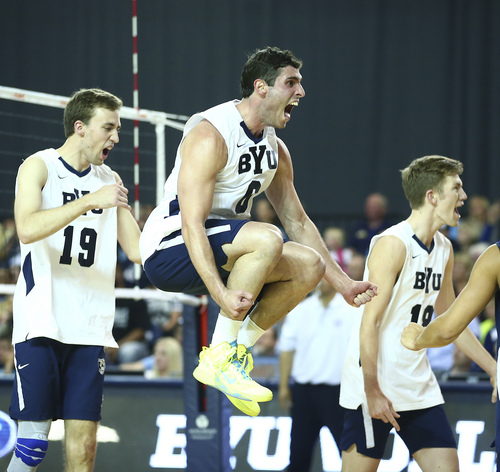 (Jaren Wilkey  |  Courtesy BYU) BYU's (6) Josue Rivera celebrates a point against Stanford. BYU defeated Stanford 3-0 in the Finals of the MPSF Men's Volleyball Championships hosted by Brigham Young University in Provo on Saturday, April 26, 2014.