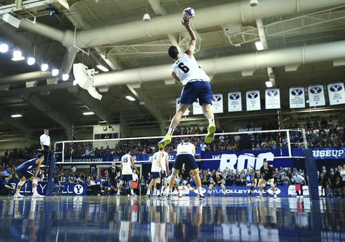 (Jaren Wilkey  |  Courtesy BYU) BYU's Josue Rivera serves the ball to Stanford in the first game. BYU defeated Stanford 3-0 in the Finals of the MPSF Men's Volleyball Championships hosted by Brigham Young University in Provo on Saturday, April 26, 2014.
