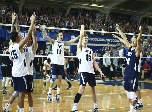 (Jaren Wilkey  |  Courtesy BYU)   The BYU Men's Volleyball team celebrates match point to give them their second consecutive MPSF Conference Championship with the win over Stanford. BYU defeated Stanford 3-0 in the Finals of the MPSF Men's Volleyball Championships hosted by Brigham Young University in Provo on Saturday, April 26, 2014.