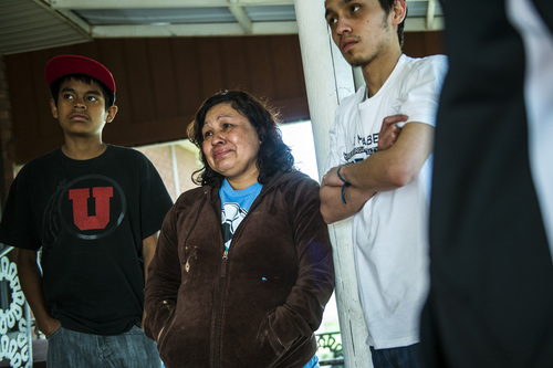 Chris Detrick  |  The Salt Lake Tribune Ana Cañenquez and her sons Erick Ramirez, 13, and Geovanny Ramirez, 17, talk about the possibility of being deported at her home in Garland Wednesday April 16, 2014. Part of the family has been ordered to be deported to El Salvador.