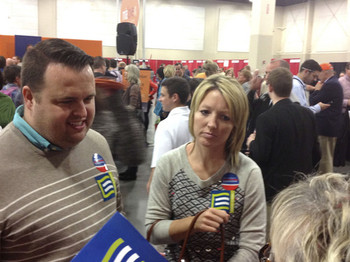 Matt Canham  |  The Salt Lake Tribune Ivan and Megan DuBois encouraged their Republican friends to support gay rights at Saturday's GOP Convention. Ivan DuBois is a former executive director of the Utah Republican Party.