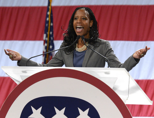 Leah Hogsten  |  The Salt Lake Tribune Mia Love is the GOP nominee in the 4th Congressional District, winning 78 percent of the delegate votes at the Utah Republican Party 2014 Nominating Convention at the South Towne Expo Center, Saturday, April 26, 2014.