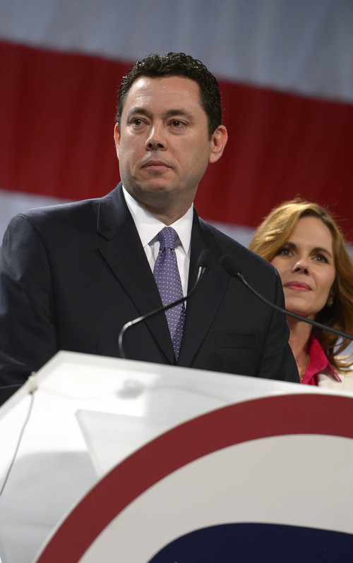 Leah Hogsten  |  The Salt Lake Tribune 3rd Congressional District candidate Jason Chaffetz won the nomination with 87 percent of the votes at the Utah Republican Party 2014 Nominating Convention at the South Towne Expo Center, Saturday, April 26, 2014.