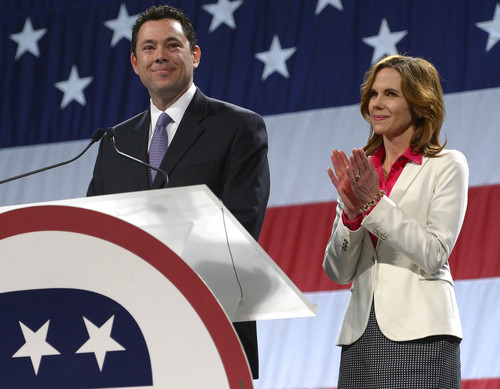 Leah Hogsten  |  The Salt Lake Tribune Rep. Jason Chaffetz, R-Utah, with wife Julie, won the nomination with 87 percent of the delegate votes at the Utah Republican Party 2014 Nominating Convention at the South Towne Expo Center, Saturday, April 26, 2014.