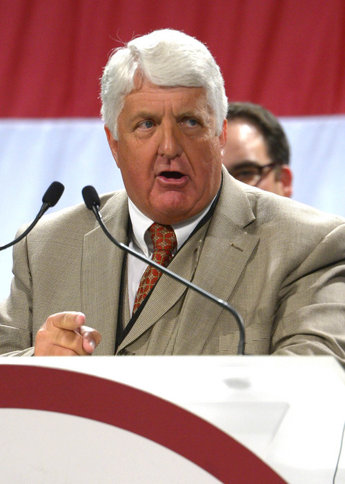 Leah Hogsten  |  The Salt Lake Tribune Six-term Rep. Rob Bishop, R-Utah, won the GOP nomination at the Utah Republican Party 2014 Nominating Convention at the South Towne Expo Center, Saturday, April 26, 2014.