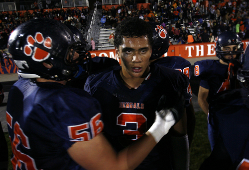 Scott Sommerdorf   |  The Salt Lake Tribune Brighton RB Osa Masina takes a breather on the sidelines after gaining 242 yards and getting the wind knocked out of him against Alta. Brighton defeated Alta 38-28, Friday, September 27, 2013
