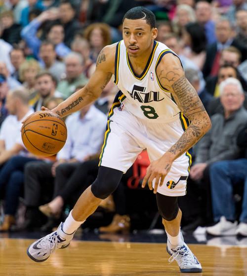 Trent Nelson  |  The Salt Lake Tribune Utah Jazz point guard Diante Garrett (8) controls the ball as the Utah Jazz host the Phoenix Suns, NBA Basketball in Salt Lake City, Wednesday, February 26, 2014.