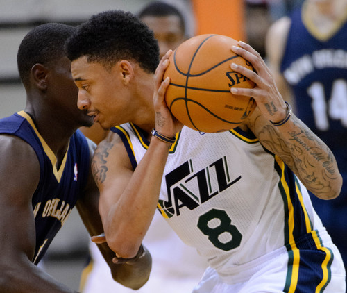 Trent Nelson  |  The Salt Lake Tribune Utah Jazz point guard Diante Garrett (8) with the ball as the Jazz face the New Orleans Pelicans, NBA basketball at EnergySolutions Arena in Salt Lake City, Wednesday November 13, 2013.
