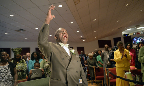 Al Hartmann  |  The Salt Lake Tribune Rev. France Davis acknowledges members of the Calvary Baptist Church as they celebrate his 40th anniversary as their pastor Sunday April 27 in Salt Lake