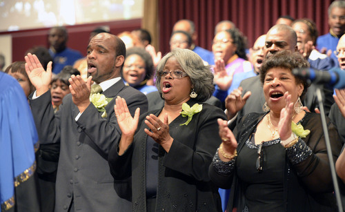 Al Hartmann  |  The Salt Lake Tribune Members of the Beulah Baptist Church Community Choir sings processional at the Calvary Baptist Church's celebration for Pastor France Davis's  40th anniversary as pastor in a special celebration Sunday April 27 in Salt Lake City.