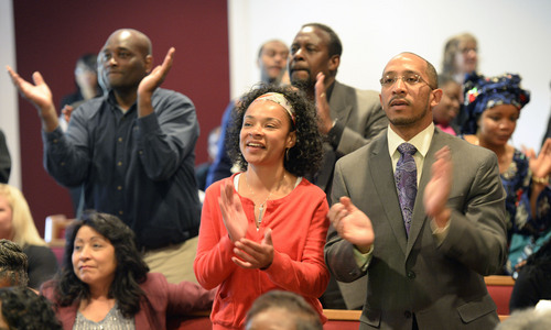 Al Hartmann  |  The Salt Lake Tribune Members of the Calvary Baptist Church celebrate in song at Pastor France Davis's 40th anniversary as their pastor Sunday April 27 in Salt Lake City.