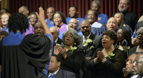 Al Hartmann  |  The Salt Lake Tribune Members of the Beulah Baptist Church Community Choir sings with the Calvary Baptist Church Choir in celebration for Pastor France Davis's  40th anniversary as pastor in a special celebration Sunday April 27 in Salt Lake City.