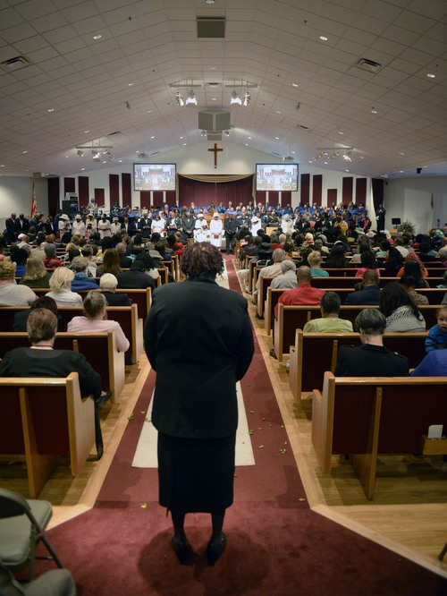 Al Hartmann  |  The Salt Lake Tribune Members of the Calvary Baptist Church celebrate Pastor France Davis's  40th anniversary as pastor  Sunday April 27 in Salt Lake City.