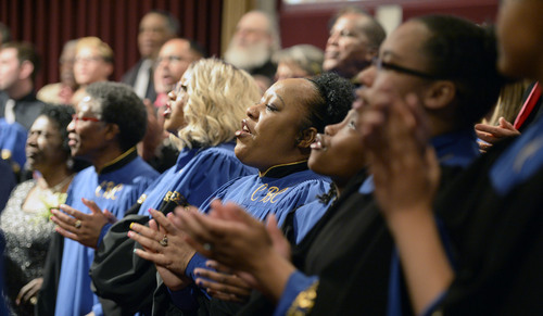 Al Hartmann  |  The Salt Lake Tribune Members of the Calvary Baptist Church Choir sings in celebration for Pastor France Davis's  40th anniversary as pastor in a special celebration Sunday April 27 in Salt Lake City.