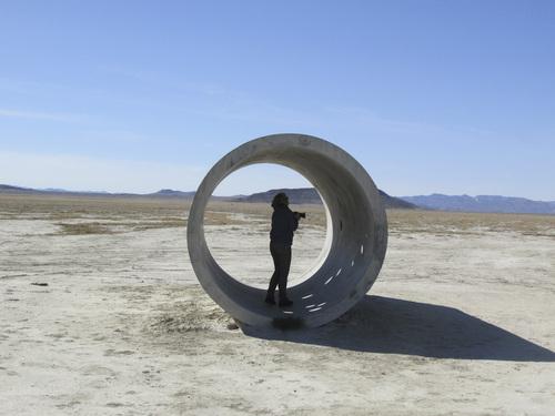 Tom Wharton | The Salt Lake Tribune  Tourists take photos of Sun Tunnels in northwestern Utah.