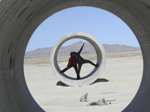 Tom Wharton | The Salt Lake Tribune  Bianca Visschers and Noortje van Oostrom from the Netherlands explore Nancy Holt's Sun Tunnels in a remote corner of northwestern Utah.