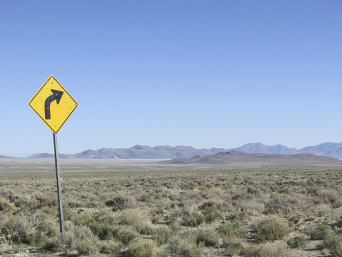 Tom Wharton | The Salt Lake Tribune  A random desert road sign in the middle of the seldom-traveled road to the Sun Tunnels.