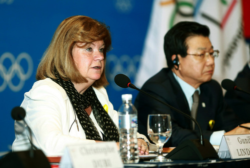 Gunilla Lindberg, left, chair of the IOC Evaluation Commission, speaks during a press conference as Kim Jin-sun, head of the Pyeongchang Organizing Committee for the 2018 Winter Olympic Games, listens in Pyeongchang, South Korea, Thursday, May 1, 2014. The IOC is convinced that preparations for the 2018 Winter Games in Pyeongchang are on track, in contrast with concerns over the chronic construction delays for the 2016 Olympics in Rio de Janeiro. (AP Photo/Yonhap)  KOREA OUT