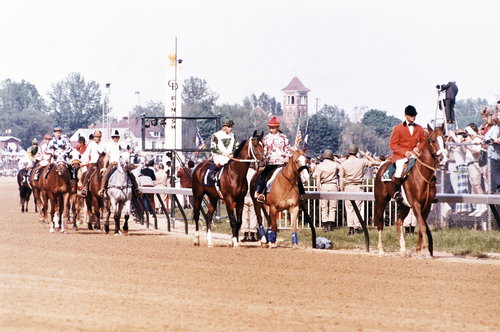 Parade to the start of the Kentucky Derby at Churchill Downs racetrack in Louisville, Kentucky on May 5, 1973. (AP Photo)