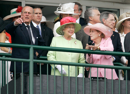 Queen Elizabeth II and Prince Philip attend the 133rd Kentucky Derby at Churchill Downs in Louisville, Ky., Saturday, May 5, 2007. (AP Photo/Rob Carr)