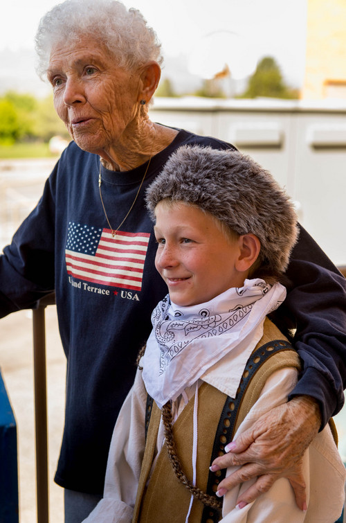Trent Nelson     The Salt Lake Tribune Ilene Gorzitze, a longtime volunteer P.E. specialist, talks with third-grader Spencer Carter at Upland Terrace Elementary School in Salt Lake City on  Friday, May 2, 2014. Gorzitze was surprised with a Huntsman Award for Excellence in Education.