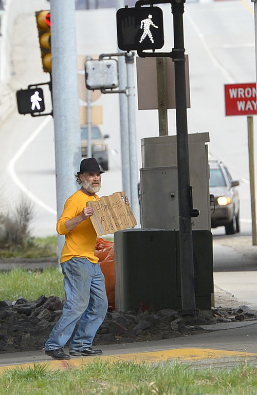 "Leah Hogsten  |  The Salt Lake Tribune ""I think it's a good idea,"" said Lee McCashland of a bill to ban panhandling, while panhandling along 400 South. ""99% of us out here are panhandling for drugs or alcohol,"" said McCashland who admits to panhandling to support his drug habit. The bill to ban panhandling along state highways, freeways and their shoulders passed the Utah Senate Senate, Thursday, March 6, 2014, with a vote of 27-1 and sent it to Gov. Gary Herbert for his signature. The House earlier passed it on a 51-22 vote. The measure does not attempt to prohibit such activities on a public sidewalk ."