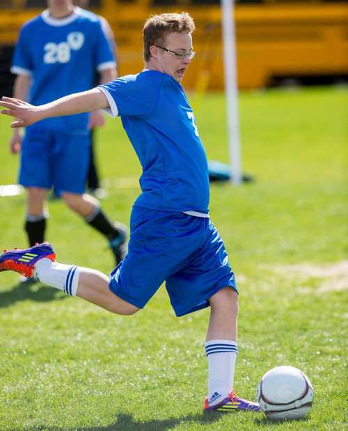 Trent Nelson     The Salt Lake Tribune Bingham's Josh Rothey in action vs. Jordan High School in Sandy, Wednesday April 23, 2014. In Unified Soccer, high school athletes who have intellectual disabilities team with partners in 5-on-5 games.
