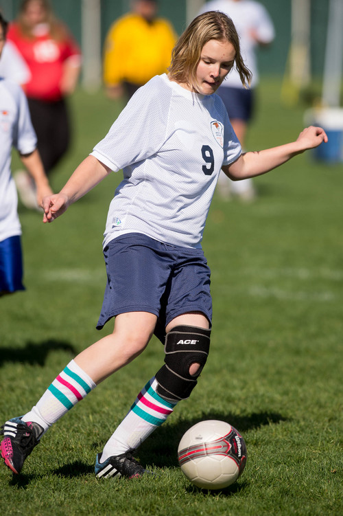 Trent Nelson     The Salt Lake Tribune Brighton's Raven Vesley in action vs. Alta High School in Sandy, Wednesday April 23, 2014. In Unified Soccer, high school athletes who have intellectual disabilities team with partners in 5-on-5 games.