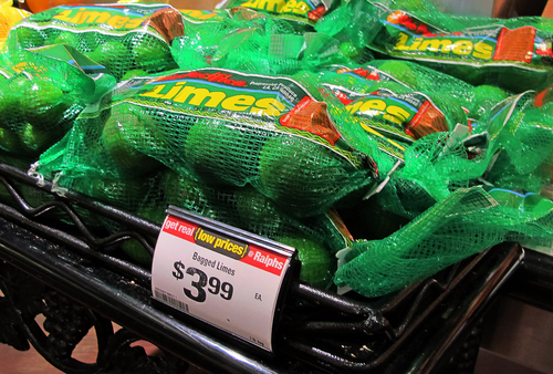 This Saturday, April 26, 2014, photo shows limes on sale for $3.99 for a 1-pound bag at a Ralphs market in Los Angeles. The lime, that humble little fruit that sort of resembles a green golf ball, has skyrocketed in price in recent weeks, quadrupling or, in some areas, going even higher. (AP Photo/Reed Saxon)