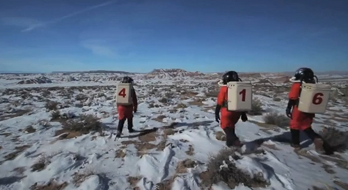 (Mashable screen grab) Volunteer researchers at the Mars Desert Research Station near Hanksville simulate what it would be like to survive in Mars' atmosphere.