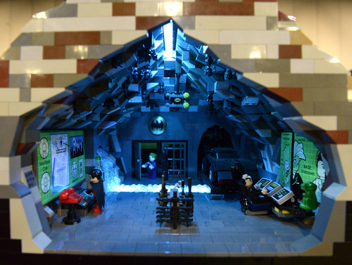 Rick Egan     The Salt Lake Tribune  Bat Cave and Mountain by Rob Rautis, at the South Towne Expo Center, Saturday, May 3, 2014. The BrickSlopes event included LEGO creations from master builders across the U.S. plus a play area for kids with more than 50,000 LEGO bricks.
