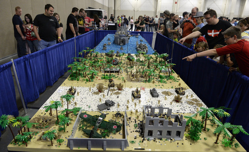 Rick Egan     The Salt Lake Tribune  The World War II Battle of Peleliu, at the South Towne Expo Center, Saturday, May 3, 2014. The BrickSlopes event included LEGO creations from master builders across the U.S.