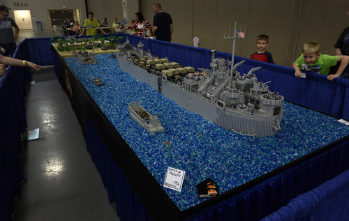 Rick Egan  |  The Salt Lake Tribune  The World War II Battle of Peleliu, at the South Towne Expo Center, Saturday, May 3, 2014. The BrickSlopes event included LEGO creations from master builders across the U.S.