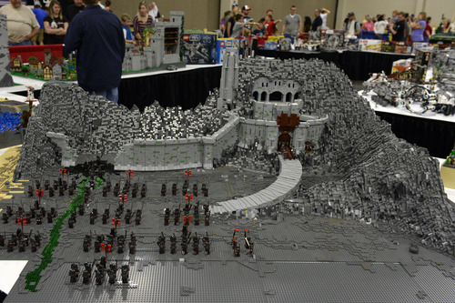 Rick Egan  |  The Salt Lake Tribune  Helms Deep by Steve Poulson took four months to build, shown at the South Towne Expo Center, Saturday, May 3, 2014. The BrickSlopes event included LEGO creations from master builders across the U.S. plus a play area for kids with more than 50,000 LEGO bricks.