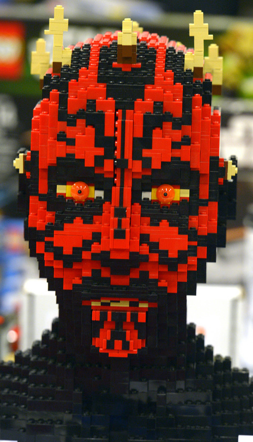 Rick Egan  |  The Salt Lake Tribune  Darth Maul made of LEGOs at South Towne Expo Center, Saturday, May 3, 2014. The BrickSlopes event included LEGO creations from master builders across the U.S. plus a play area for kids with more than 50,000 LEGO bricks.