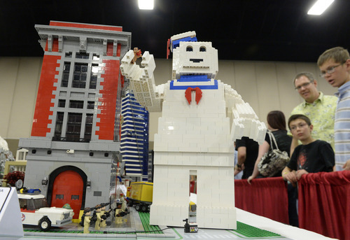 """Rick Egan     The Salt Lake Tribune """"Who You Gonna Call"""" BrickSlopes exhibit by Rob Rautis and John Hubenthal, at the South Towne Expo Center, Saturday, May 3, 2014. The event included LEGO creations from master builders across the U.S. plus a play area for kids with more than 50,000 LEGO bricks."""