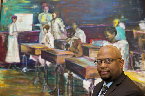 Kevin Gilbert, 42, of Ridgeland, Miss., a member-at-large on the National Education Association (NEA) executive committee and a former social studies teacher and coach, poses for a portrait in Washington on Thursday, May 1, 2014. (AP Photo/Jacquelyn Martin)