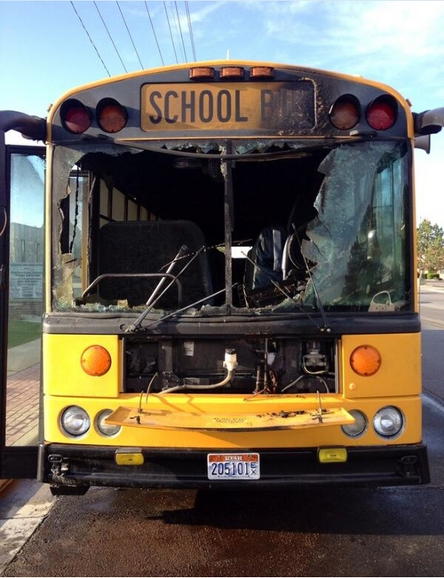 This Canyons School District bus caught fire Monday morning in Sandy. (KUTV News photo)