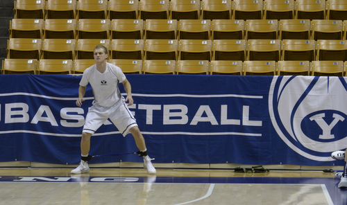Rick Egan  | The Salt Lake Tribune   Tyler Haws warms up before the BYU vs. San Diego Toreros at the Marriott Center,  Saturday, January 4, 2014.