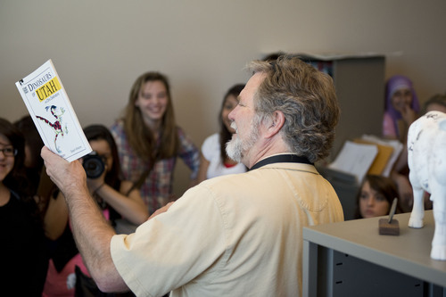 Lennie Mahler  |  The Salt Lake Tribune Cartoonist Pat Bagley speaks to journalism and yearbook students from Granger High School at The Salt Lake Tribune office Friday, May 2, 2014.