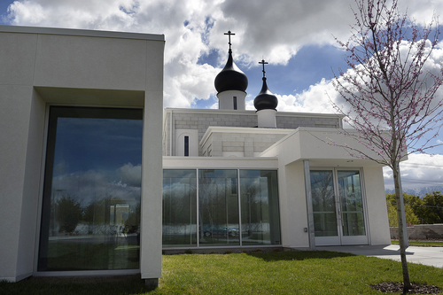 Scott Sommerdorf   |  The Salt Lake Tribune The new St. George Russian Orthodox Church at 1300 West, 6790 South, in West Jordan, Wednesday, April 23, 2014. It has mixed a very angular exterior, with the traditional onion-shaped domes of Russian Orthodox architecture. This is the west side of the building.